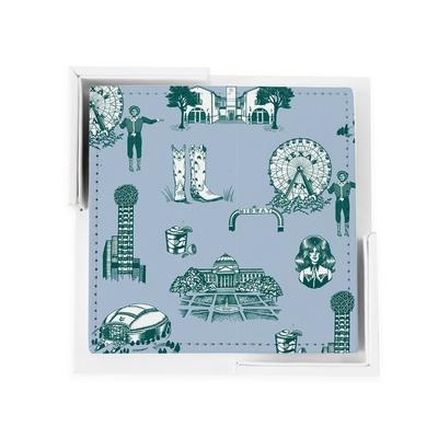 Coaster Set Blue Pine Dallas Toile Coaster Set