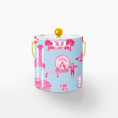 Ice Bucket Gold / Blue Pink Dallas Toile Ice Bucket
