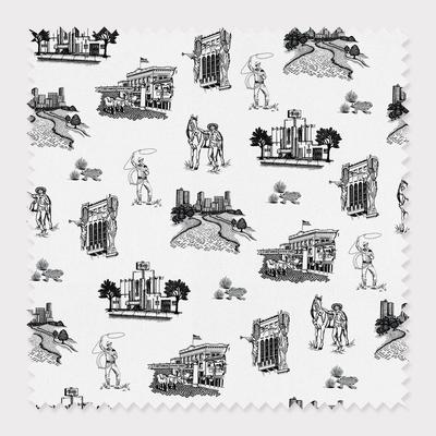 Fabric Cotton / By The Yard / Black Fort Worth Toile Fabric