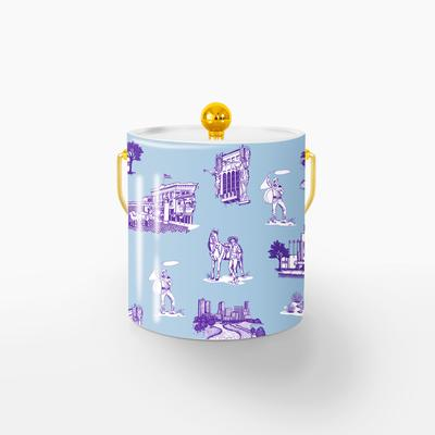 Ice Bucket Gold / Blue Purple Fort Worth Toile Ice Bucket