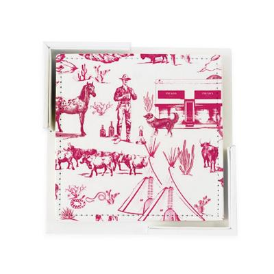 Coaster Set Pink Marfa Toile Coaster Set