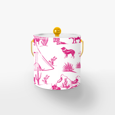 Ice Bucket Gold / Pink Marfa Toile Ice Bucket