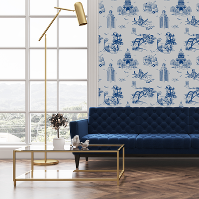 Wallpaper Navy / Double Roll 59000 Lille Toile Wallpaper