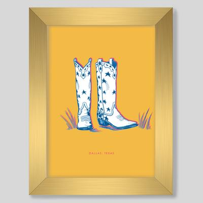 Gallery Prints 8x10 / Gold Frame / Yellow Dallas Boots Gallery Print